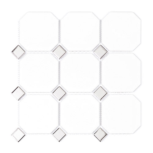 [US-REGNO] 모자이크타일 GBD-WHITE & SILVER규격:300X300수량:11매/0.99㎡재질:포세린