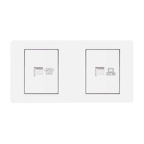 [우연티엔이] 유럽형멀티콘센트 /멀티아웃렛2구-전화+인터넷 [BSW1_T/I]