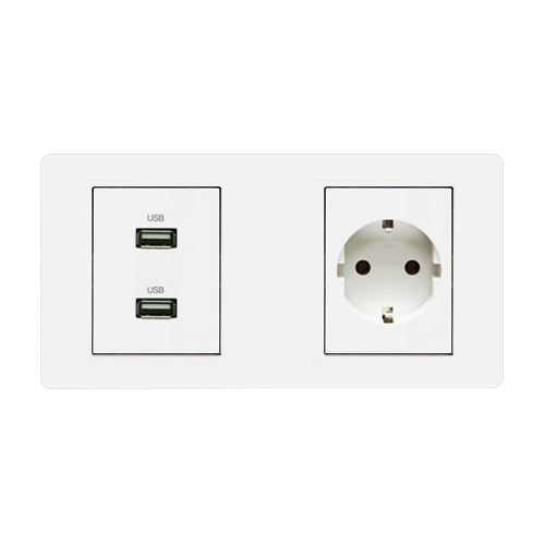 [우연티엔이] 유럽형멀티콘센트 /멀티아웃렛2구-USB충전+원형 [BSW2_OB]