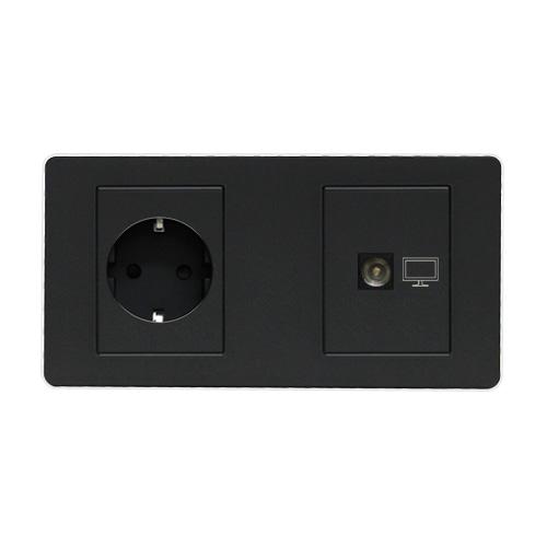 [우연티엔이] 유럽형 멀티콘센트 /멀티아웃렛 2구-원형+TV [BSDG2_O/TV]